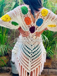 Ergahandmade: Crochet Cardigan + Video T - Diy Crafts - DIY & Crafts Bikinis Crochet, Crochet Shorts, Crochet Cardigan, Crochet Clothes, Crochet Cover Up, Crochet Top, Hippie Crochet, Mode Crochet, Crochet Woman