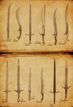 "stormbornvalkyrie:  ""   Elf Week: Elven Weapons by Atohas  """