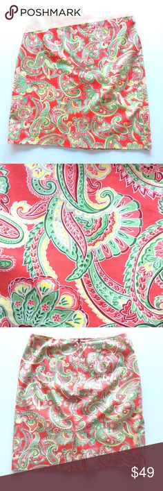 "JONES NEW YORK COUNTRY🔹COTTON SPANDEX SKIRT Excellent used condition, like new, Jones NY Country cotton spandex skirt. Size 6. Laying flat, measures 15"" at waist, and 19.5"" long. Colors: coral, pink-coral, yellow, green, cranberry, gray. So beautiful!! SUGGESTED USER, FAST SHIPPER Jones New York  Skirts"