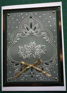 Paper Play by Kathi: Marianne Designs...embossed vellum overlay on top of dark green...very elegant look...