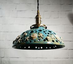 Handcrafted Pottery Hanging Pendant Light with Shells and Anchors This is one of mine favorites, each one is created one at a time, and then its and