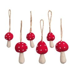 VINTER 2016 Hanging ornaments, set of 6, mushroom