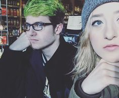 Posted up in a coffee shop with my green-haired brother. #detroit ---//^^^  #makeup #glow #highlight #coffee #coffeshop #greenhair #fashion #boy #boysofinstagram #hair #hairdye #street #streetstyle #look #coolhair #coolkids #family #makeuplover #pale #palegirl #blondehair