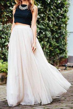 a76462adc4 White High Waist Mesh Maxi Bubble Skirt