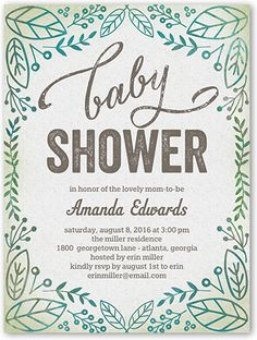 Organic Shower 4x5 Stationery Card by Berry Berry Sweet   Shutterfly