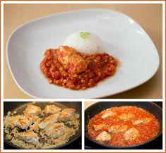 Dušené kuře s rajčaty a čočkou, jasmínová rýže