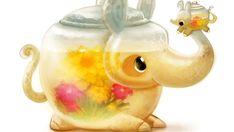 Cute Food Drawings, Cute Animal Drawings Kawaii, Kawaii Drawings, Cartoon Drawings, Cool Drawings, Cartoon Art, Fruit Animals, Cute Animals, Animal Puns