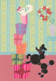 Precocious poodle Vintage Birthday Cards, Vintage Christmas Cards, Xmas Cards, Vintage Cards, Christmas Dog, Christmas Crafts, Pink Poodle, Pink Dog, Vintage Dog