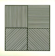 Sol Lewitt: 'A square divided horizontally and vertically into four equal parts, each with a different direction of alternating parallel bands of lines' 1982 woodcut collection of the National Gallery of Australia
