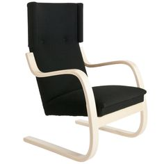 Aalto 401 armchair by Artek. Design by Alvar Aalto. Ottoman, New Bedroom Design, Alvar Aalto, Lounge Sofa, Womens Size Chart, Nordic Design, Leather Material, Danish Design, Rocking Chair