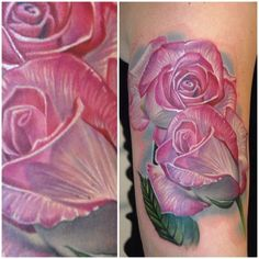 Another set of gorgeous translucent roses by @philgarcia_inkphillertattoos