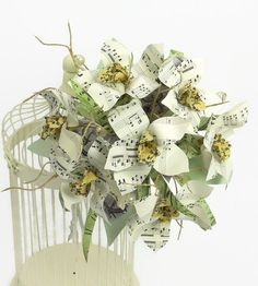 Sheet music orchid bridal bouquet & matching hair by JackdawDecor