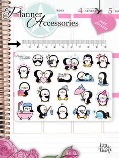 Sticker - Kawaii Pinguin Sticker Kawaii Penguin Sticker 661 - ein Designerstück von PlannerAccessories bei DaWanda