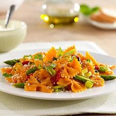 Farfalle with Roasted Red Bell Peppers, Asparagus and Parmigiano Reggiano Cheese Allrecipes.com