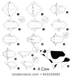 Step by step instructions how to make origami A Cow. Step by step instructions how to make origami A Cow. Origami Star Box, Origami Fish, Origami Dragon, Origami Folding, Paper Crafts Origami, Diy Origami, Origami Tutorial, Origami Design, Origami Guide
