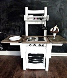 chair repurposed into a kid's kitchen!