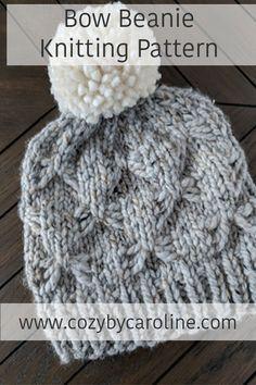 Knitting Pattern: Bow Beanie — Cozy by Caroline Baby Hats Knitting, Knitting Stitches, Knitting Patterns Free, Knit Patterns, Free Knitting, Knitted Hats, Knitting Kits, Knitting Ideas, Beanies
