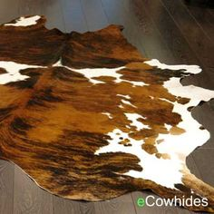 Tricolor Cowhide Rug Cow Hide Rugs on Sale by eCowhides on Etsy. Considering layering this rug over a over-dyed turquoise or green area rug in my bedroom? Cowhide Decor, Cowhide Furniture, Western Furniture, Accent Furniture, Cowhide Ottoman, Leather Furniture, Rustic Furniture, Clearance Rugs, Shops