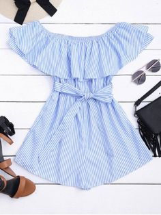 Flounce Hem Striped Belted Romper - Stripe S Summer Outfits, Casual Outfits, Cute Outfits, Fashion Outfits, Romper With Skirt, Playsuit Romper, Mode Rockabilly, Trendy Fashion, Womens Fashion