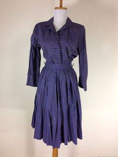 Vintage 1950s Purple Dress Skirt Shirt Blouse Plaid Charm of Hollywood S M #CharmofHollywood