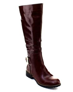 6aeaa218478 DBDK Fidelia-1 Women s Side Zip Chunky Heel Knee High Riding Boots WINE   DBDKFashion