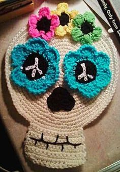 PDF How to Crochet Pattern - Hippy Flower Child Day of the Dead Sugar Skull Table or Wall Art.