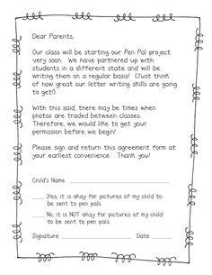 Pen Pal Freebie - Parent Permission Slip