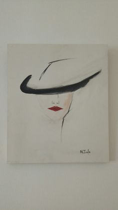 Minimal oil painting woman with hat and red lips