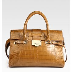 Jimmy Choo Large Rosalie Croc-Stamped Leather Satchel ($1,595) ❤ liked on Polyvore