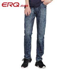 ERQ 2017 Regular Fit Men Jeans Straight Jeans Pants Men Slim High Quality Cotton Denim Blue Skinny Jeans for Men 53000 #Affiliate