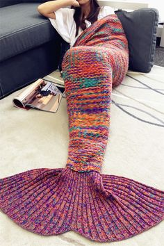 $26.98 Comfortable 100% Polyester Knitted Multicolor Mermaid Blanket