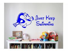 Dory Disney Quote Sign Vinyl Decal Sticker wall lettering Family Dorey Dory Nemo  Finding Nemo Just keep swimming kids movie cartoon  books by ColtonsPlace on Etsy https://www.etsy.com/listing/460408466/dory-disney-quote-sign-vinyl-decal