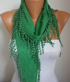Pigment Green Scarf    Pashmina Scarf    Cowl Scarf by fatwoman, $15.00