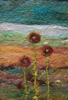 5 x 7 needlefelted wool on felt with embroidery and art yarn. All art content © Deebs Fiber Arts Felt Fabric, Fabric Art, Nuno Felting, Needle Felting, Felt Pictures, Wool Art, Art Textile, Felt Hearts, Felt Animals