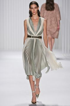 Lovely celadon and white palette for this dress that would look wonderful on a real woman. #jmendel #nyfw #spring2013
