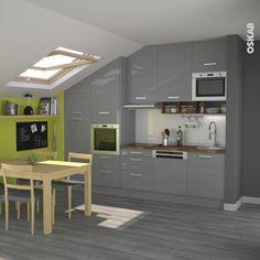 petite cuisine grise brillante sous pente pice ouverte soubassement vert plan de travail
