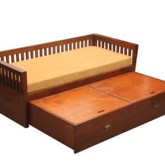 sofa cum bed made in teak wood with natural finish having linear strip design Bed Designs With Storage, Wooden Sofa Set Designs, Sofa Bed With Storage, Sofa Bed Wooden, Wood Sofa, Teak Wood, Sofa Cumbed Design, Wood Bed Design, Door Design