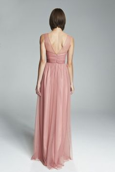 ALYCE. V-neck illusion bridesmaids dress shown in Rose. Available in 27 colors.
