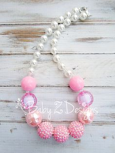 Pink and White Chunky Necklace  Fits Toddler Girl by babyzdesigns