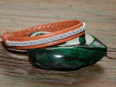 """Sami Lapland Swedish Reindeer Leather bracelet, braided pewter and silver, antler button, TAN """"SILL"""" by 62DegreesNorth on Etsy"""