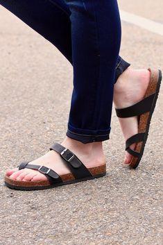 cfb995731348 Toe Strap Bork Slide On Sandals Leather Look  Black . TFL