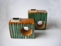 2 VEB Haldensleben E.German Square & Oblong Chimney Vases Fat Lava Era 1970's