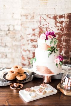 Modern Geometric Copper Wedding Inspiration. Tonya Espy Photography, Something Old Dayton, Eve Floral Co.