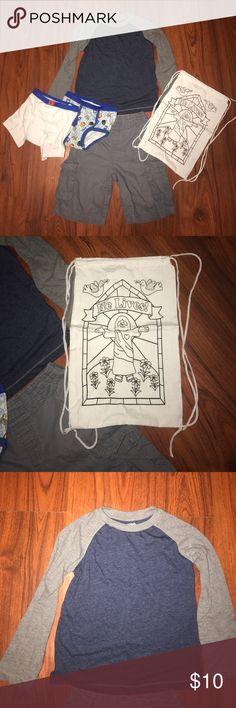 💛BOYS BUNDLE💛 Bundle includes: long sleeve, grey shorts, drawstring bag and 2 pairs of underwear Arizona Jean Company Shirts & Tops