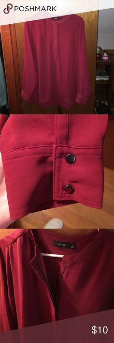 Beautiful Apt 9 long sleeve blouse Long sleeve blouse with half zipper opening, buttoned sleeves, deep red color, barely worn. Apt. 9 Tops Blouses