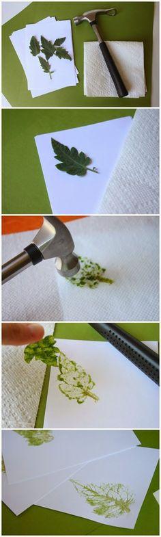 Como Estampar Papel con Hojas Frescas