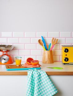Taking the colorful backsplash to a whole new level.