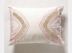 Anthropologie Ananda 2 Standard Shams Embroidered Pink Tan Gorgeous   eBay