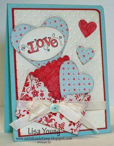 Big Shot, Hearts Framelits, vanilla ribbon, sab brad, Perfect polka dot emb folder, oval punch, corner punch, basic pearls