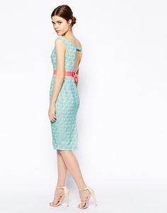 Image 1 of ASOS Bow Back Lace Pencil Dress